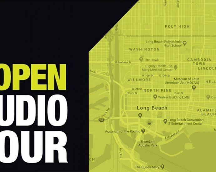 Long Beach Open Studio Tour logo with a map of Long Beach behind it.