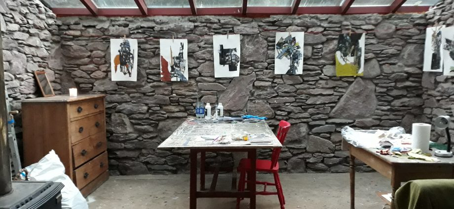 Jennifer Gunlock's studio at her residency at Cill Rialaig Project